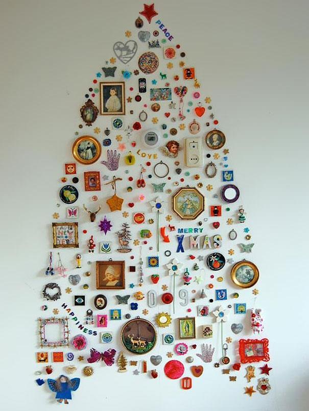 Креативные елки своими руками из разных материалов
